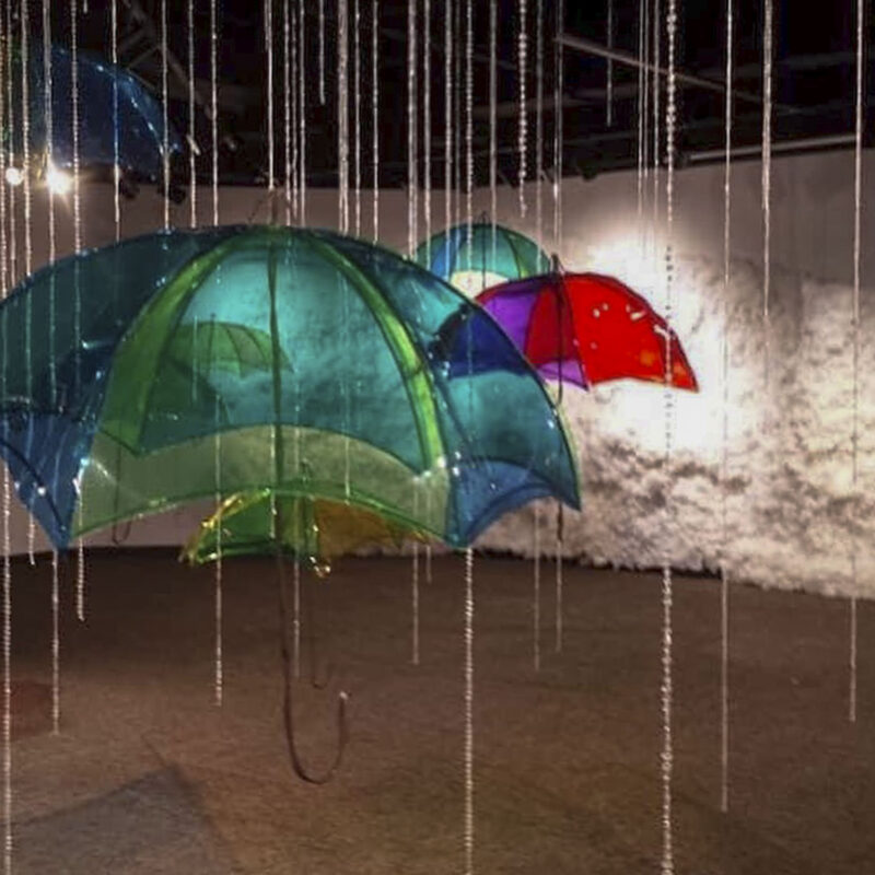 Enlivened Spaces Inner Child exhibition detail of umbrellas and rain