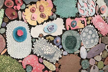 Detail image of Marilee Salvator's artwork; mixed media in circular shapes