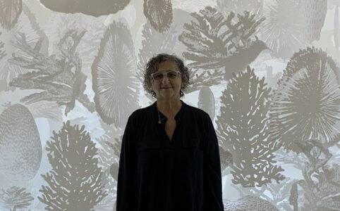 Professor Sheila Goloborotko stands in front of hanging artwork.