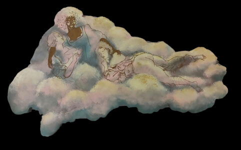 figures within a cloud-shaped form in front of a dark background