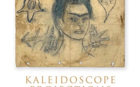 Self-portrait of artist Frida Kahlo drawn with ink on yellowed paper